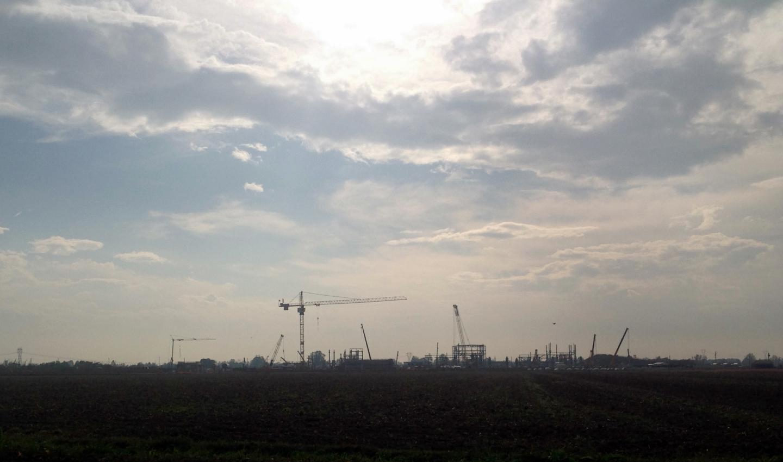 Lavori di costruzione della centrale di stoccaggio di gas a Bordolano, 2015