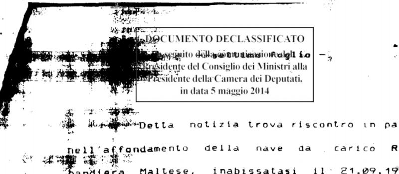 Documenti declassificati navi dei veleni