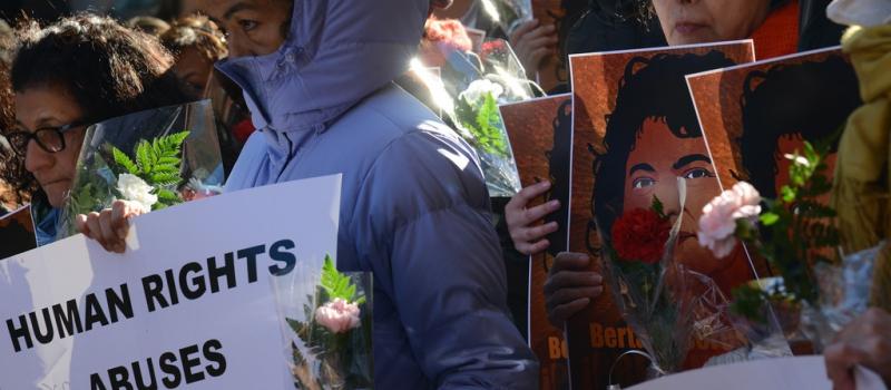 Manifestazione per Berta Cáceres. Comisión Interamericana de Derechos Humanos