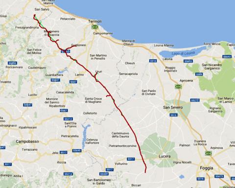 Il tracciato del gasdotto San Salvo-Biccari