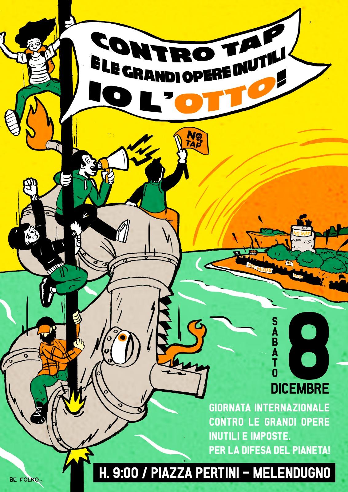 Manifestazione No Tap 8 dicembre a Melendugno