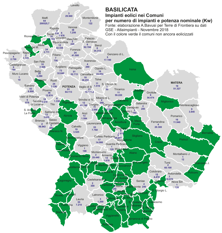La mappa degli impianti eolico in Basilicata, aggiornata al novembre 2018