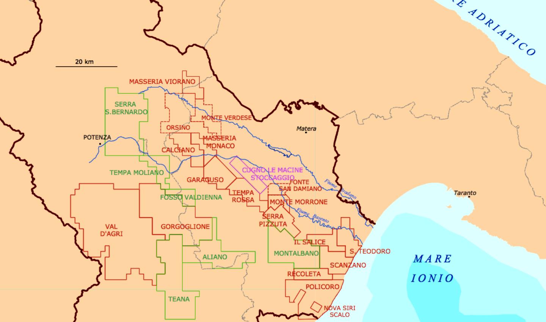 Mappa delle concessioni di gas e greggio in Basilicata